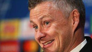 Ole Gunnar Solskjaer, el técnico del United, en la rueda de prensa previa al duelo con el Barça en Old Trafford.