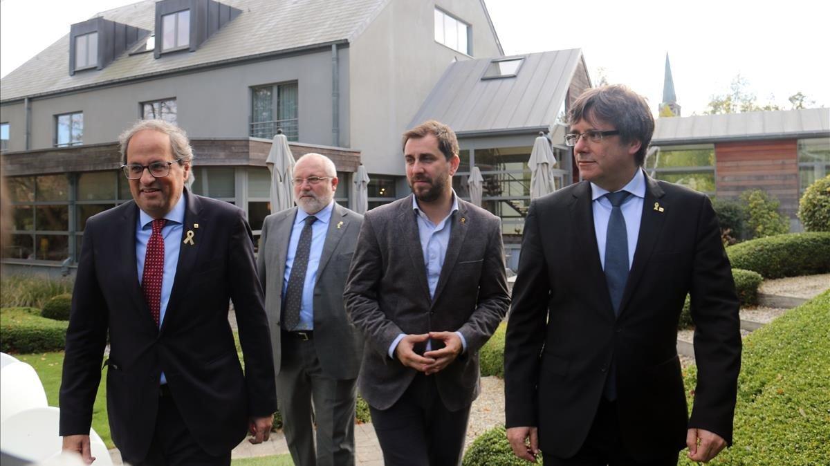 Quim Torra, Carles Puigdemont, Toni Comín yLluís Puig, en Waterloo.