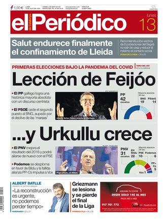 La portada de EL PERIÓDICO del 13 de julio del 2020