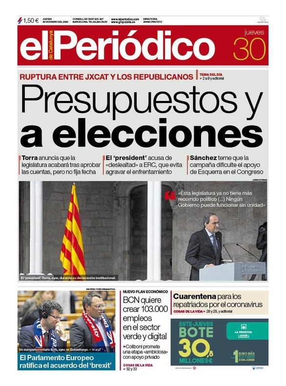 La portada de EL PERIÓDICO del 30 de enero del 2020.