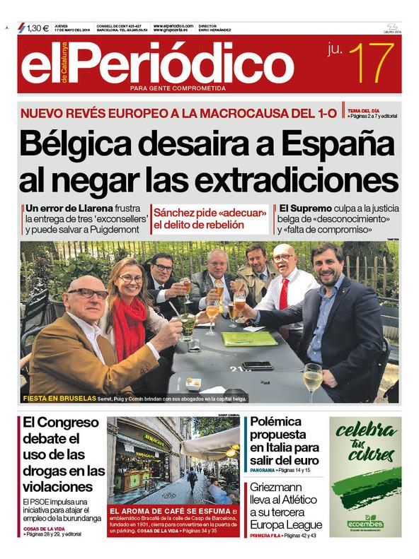 La portada de EL PERIÓDICO del 17 de mayo del 2018.