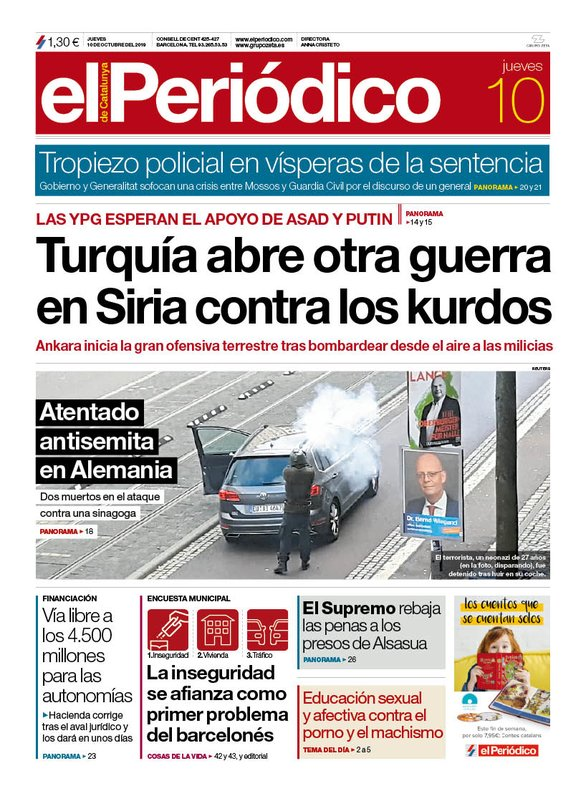 La portada de EL PERIÓDICO del 10 de octubre del 2019