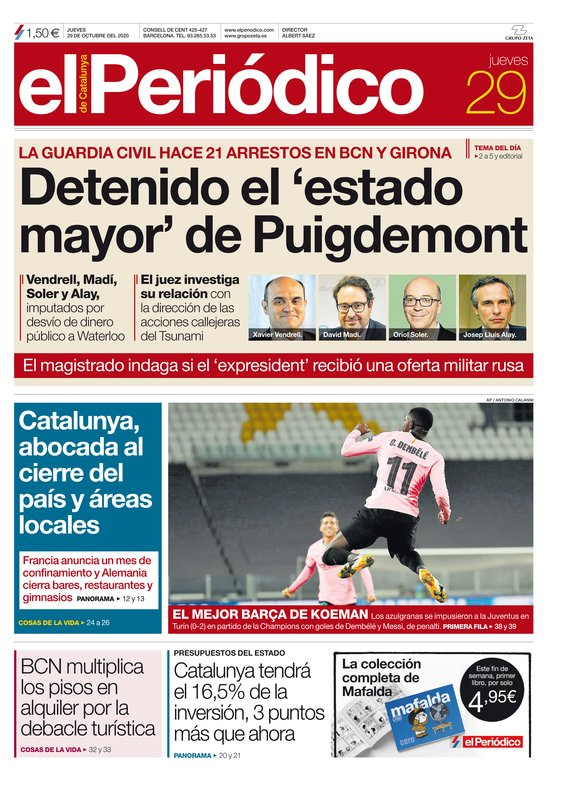 La portada de EL PERIÓDICO del 29 de octubre del 2020.