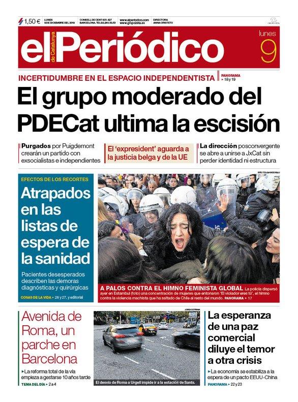 Portada EL PERIÓDICO 9 de dicimebre 2019.