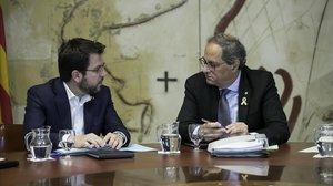 El 'president', Quim Torra, y el vicepresidente del Govern, Pere Aragonès, en una reunión del Consell Executiu en la Generalitat.