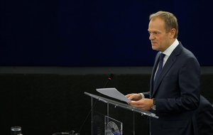 El presidente del Consejo Europeo, Donald Tusk, en la Eurocámara.