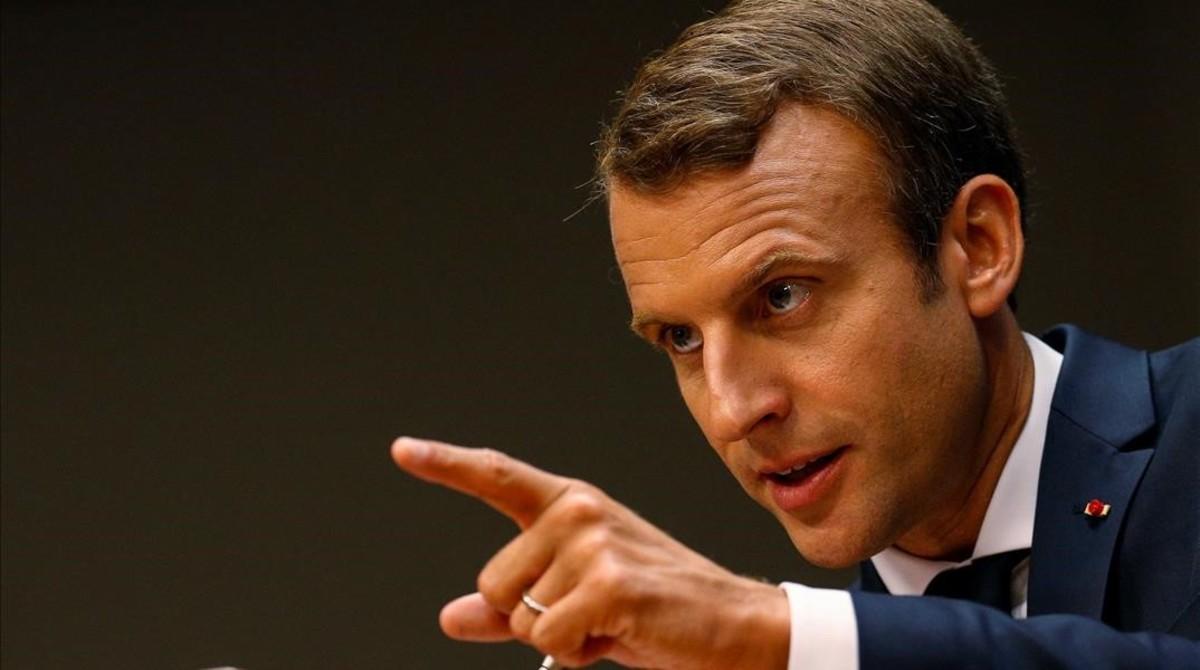 El presidente francés, Emmanuel Macron, durante su comparecencia en la Asamblea General de Naciones Unidas.