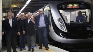 El presidente Temer y otras autoridades, en la inauguración del sábado del metro olímpico.