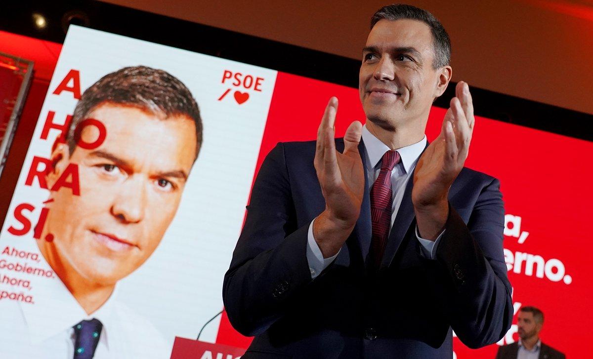 Pedro Sánchez, durante la presentación de la campaña del PSOE para el 10-N, este lunes en Madrid.