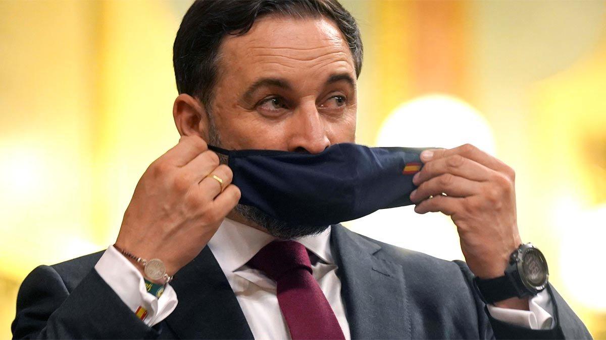 Santiago Abascal (Vox), durante la moción de censura en el Congreso.
