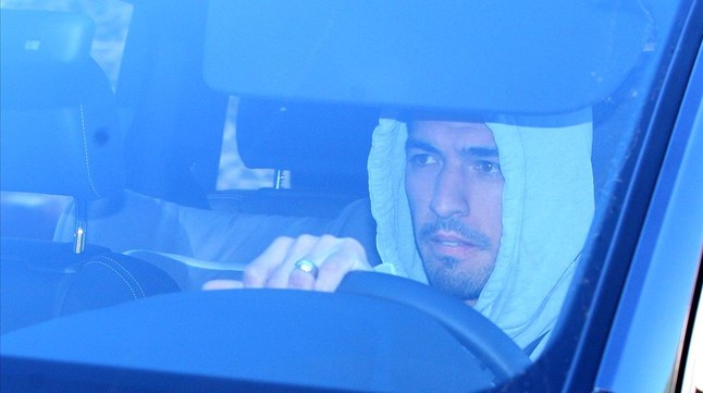 Suárez, a su llegada al restaurante.