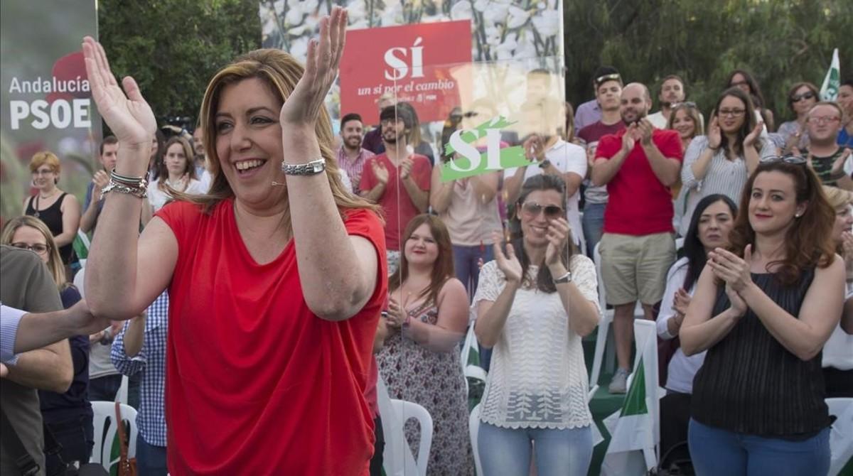 Susana Díaz, en un acto de campaña en Sevilla.
