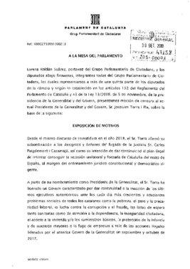 Texto de la moción de censura a Torra de Cs.