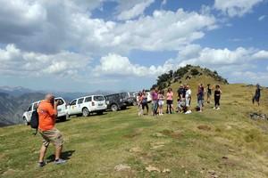 Turistas en el Pirineo.