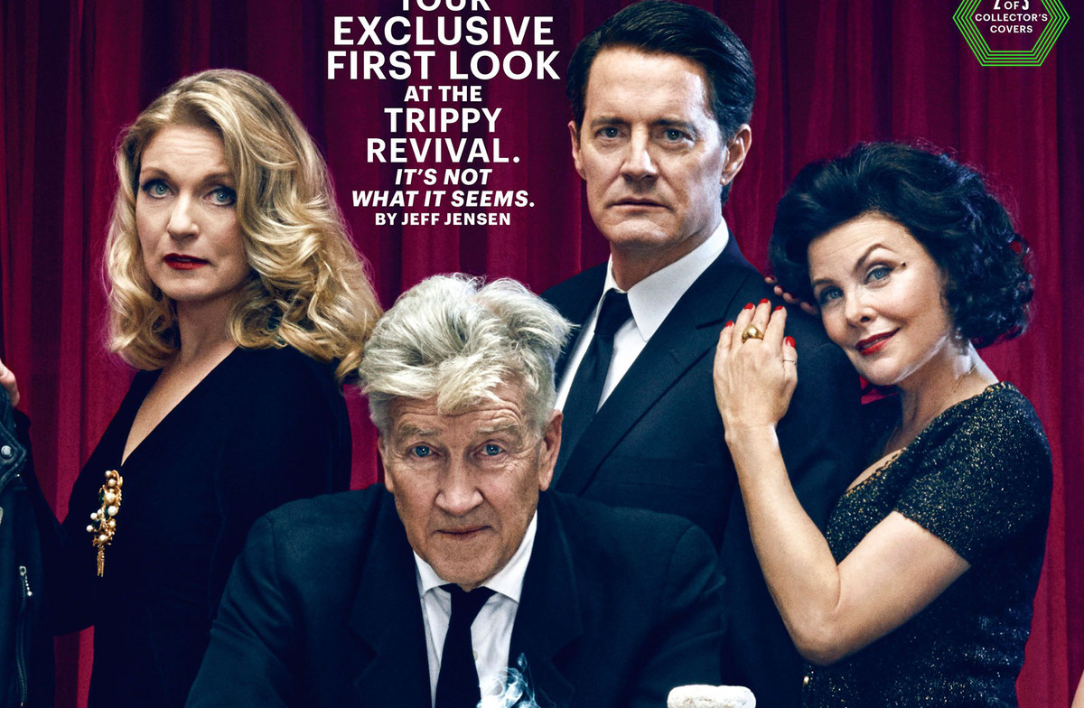 Detalle de una de las portadas de Entertainment Weekly con el director David Lynch y algunos de los actores de la nueva entrega de Twin Peaks.
