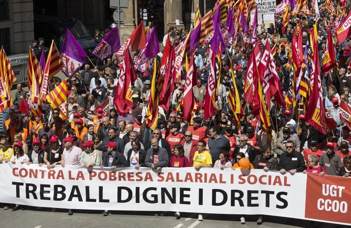 Manifestación del pasado 1 de mayo en Barcelona a favor de un empleo digno y estable.
