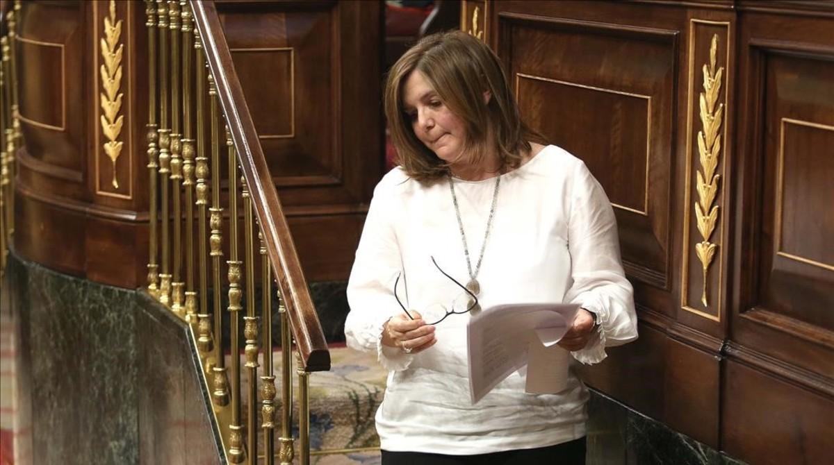 La diputada socialista Pilar Cancela, que ha defendido la proposición de ley destinada a aumentar la formación en igualdad de los jueces.