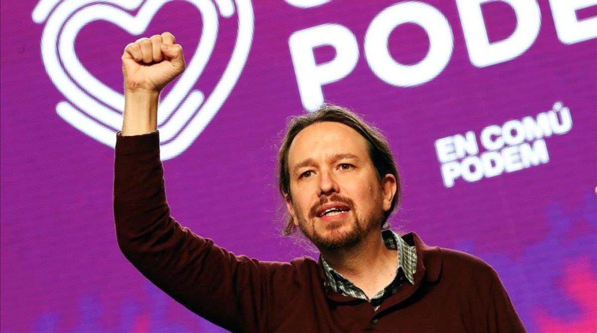 El candidato de Unidas Podemos, Pablo Iglesias, en el acto de cierre de campaña en Madrid