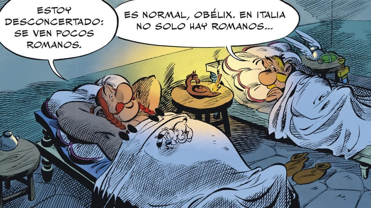 Viñeta de Astérix en Italia, el nuevo álbum de los irreductibles galos firmado por Jean-YvesFerri y Didier Conrad.