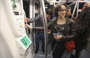 La concejala Mercedes Vidal, en un acto en el metro, en marzo de este año.