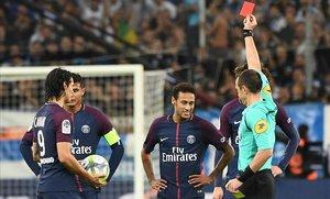 Neymar, expulsado en un Marsella-PSG del 2017.