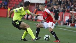 Jugada del Nàstic-Córdoba que acabó con derrota por 0-2.