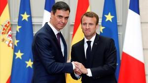 Sánchez y Macrón durantesu encuentro de este sábad.