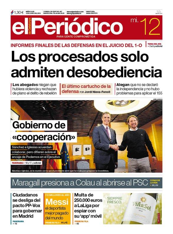 La portada d'EL PERIÓDICO del 12 de juny del 2019