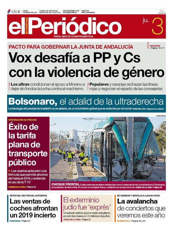 La portada de EL PERIÓDICO del 3 de enero del 2019