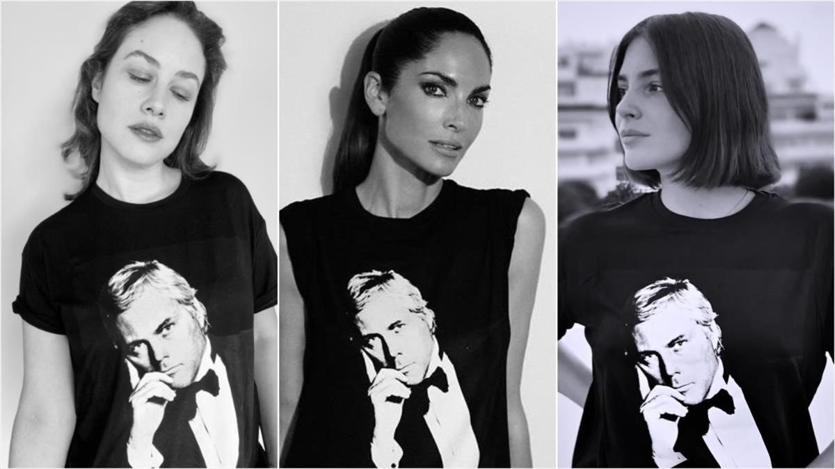 Aida Folch,Eugenia Silva y Andrea Duro posan con la camiseta del 20º aniversario de Armani Beauty.