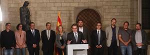 Artur Mas i dirigents dels partits pro consulta, loctubre del 2014 al Palau de la Generalitat.