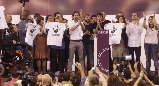 Asamblea ciudadana de Podemos en el palacio de Vistalegre, en Madrid.