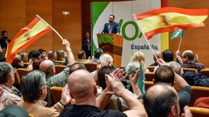 Santiago Abascal, en un acto reciente de su partido en Bilbao.