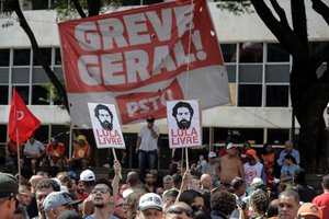 Manifestaciones en Brasil en contra de lareforma del sistema de pensiones.
