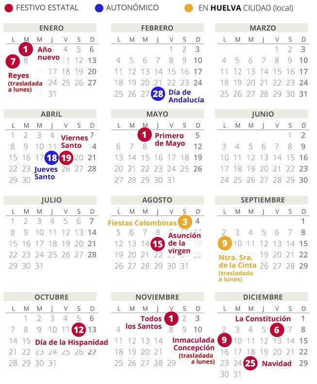 Calendario 2020 Portugues Com Feriados.Calendario Laboral De Huelva Del 2019 Con Todos Los Festivos