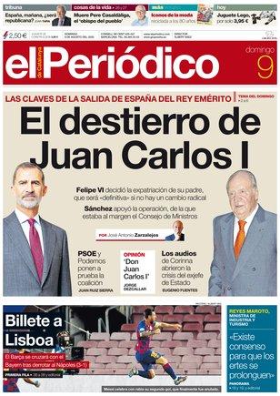 La portada de EL PERIÓDICO del 9 de agosto del 2020
