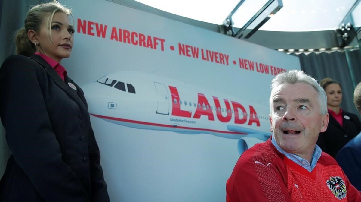 El consejero delegado de Ryanair, Michael OLeary, en la presentación de la compra de Laudamotion.