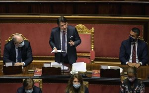 Conte, durante su comparencia en el Senado para explicar el acuerdo de la UE.