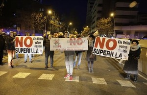 Protesta contra la superilla, en enero pasado.