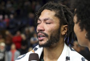 Minnesota Timberwolves Derrick Rose is interviewed after he scored 50 points, a career high, against the Utah Jazz in an NBA basketball game Wednesday, Oct. 31, 2018, in Minneapolis. The Timberwolves won 128-125. (AP Photo/Jim Mone)