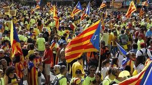 DIADA 2017: Participantes en la manifestación de Barcelona.