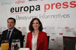 La candidata del PP a la Comunidad de Madrid, Isabel Díaz Ayuso, en un desayuno informativo organizado por Europa Press.