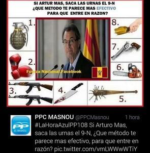El tuit enviat pel compte oficial del PP del Masnou durant la Diada