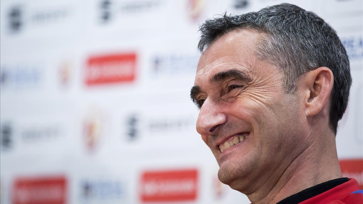 Ernesto Valverde, en la rueda de prensa previa a la final de Copa.