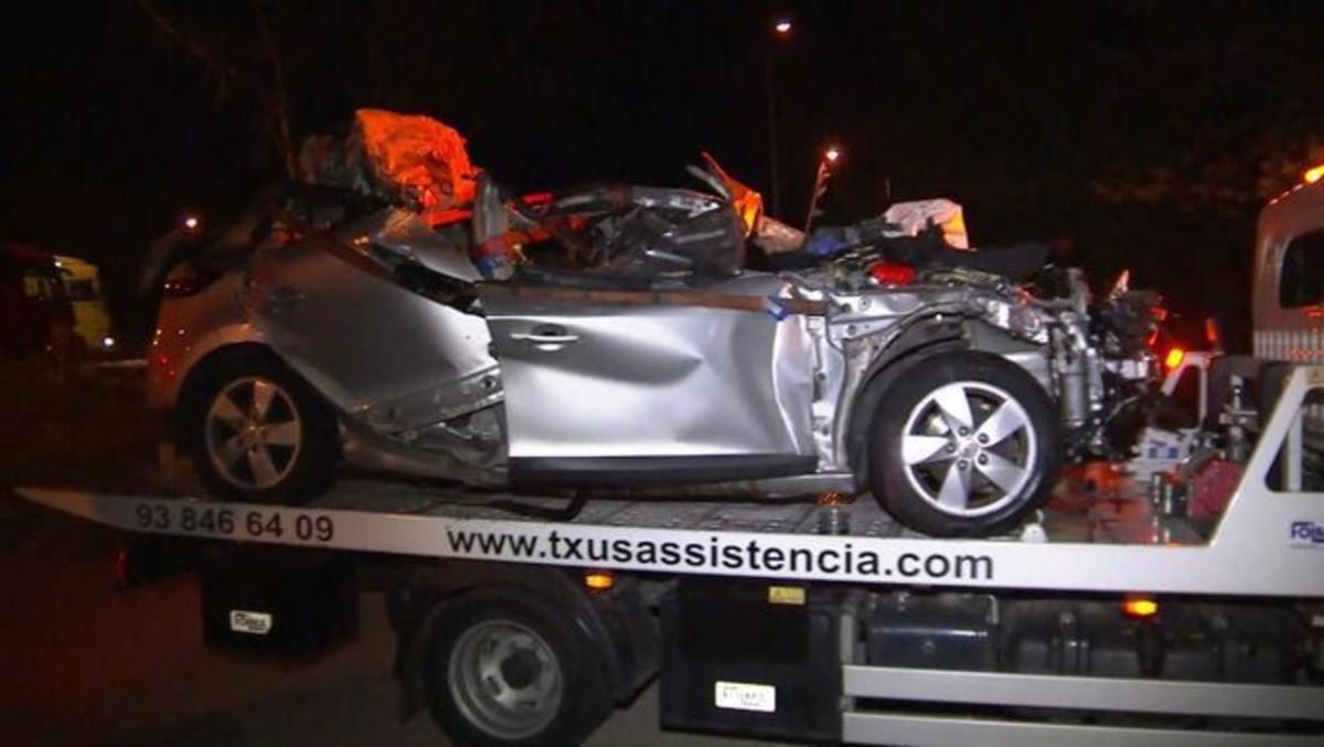 Estado en el que quedó el coche accidentado.