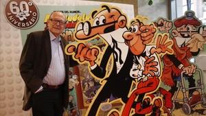 Francisco Ibáñez, este miércoles en Barcelona, celebrando los 60 años de Mortadelo y Filemón.