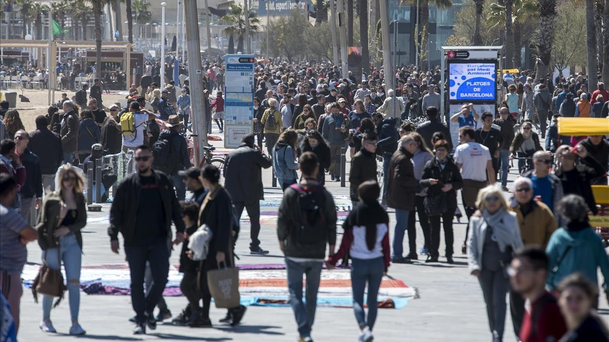 El paseo marítimo de la Barceloneta, la pasada Semana Santa.