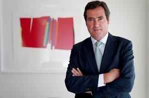 El presidente de la CEOE, Antonio Garamendi; en una entrevista con EL PERIÓDICO.