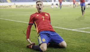 Gerard Deulofeu celebra un gol marcado a Austria en la fase de clasificación.