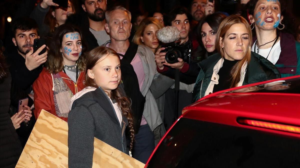 Greta Thunberg participa en lamarcha de protesta por el cambio climático en Madrid.